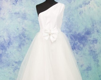 Silk taffeta wedding gown, wedding dress, one shoulder dress with tulle, PROMO with tulle, long white dress, FREE SHIPPING