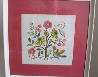 Pink Floral with Bird Crewel Embroidery Framed Wall Hanging, Vintage