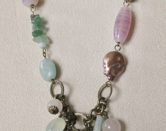 Pastel Pinks & Greens Pendant Necklace