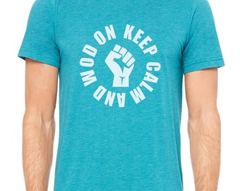 Keep Calm Wod On - Men's Short Sleeved Teal Tee /Bodybuilding / Workout / Fitness / Crossfit / Athletic / Gym T-shirt  - Gifts for Him