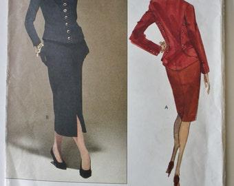 Lagerfeld designed Jacket & Skirt Suit Pattern from Vogue Paris Originals. Size 14