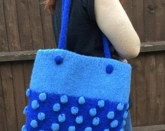 SALE - Blue bobble knitted felt bag