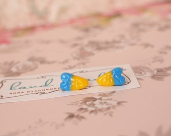 Tiny heart earrings Stud blue and yellow earrings Ukrainian colors earrings Girl stud earrings