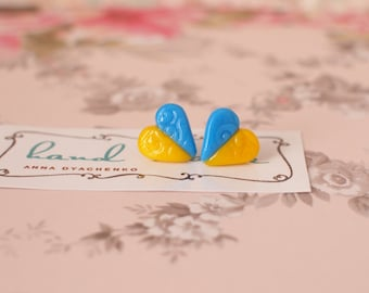 Tiny heart stud earrings Blue and yellow stud earrings Ukrainian colors earrings Girl stud earrings