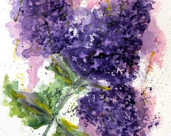 Original Lilac Love Watercolor Painting, Lilac Painting, Watercolor Lilacs