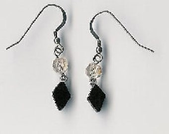 EW08009P-Earrings-Black Onyx(N), Swarovski Crystal, Sterling Silver links & earwires with naturally aged patina, 1.5 in.