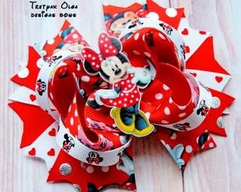 Minnie Mouse Hair Bow -Minnie Hair Bow- Minnie Mouse Stacked Bow -Minnie OTT Bow - Minnie Mouse Party-Minnie Birthday- Red Polka Dot Bow