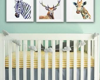 Set of 3 Animals Watercolor Nursery Decoration, Zebra, Giraffe and Deer, High Resolution Kids Room Set of Printable Posters, Wildlife Art
