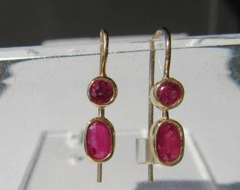 14kt Yellow Gold Dangle Ruby Earrings, Ruby Earrings, Rubies, Dangle Earrings, Gold Ruby Earrings, Strawberry Red Ruby Earrings, Earrings