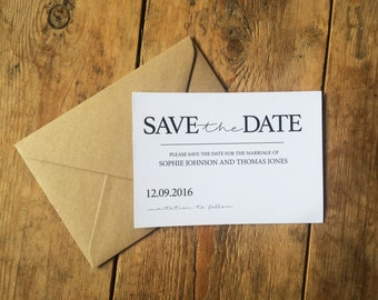 Rustic wedding save the date card, rustic wedding invitation, classic, simple, elegant save the date