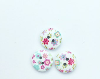 10 Pink Floral Buttons - Half Inch Button - Small Button - Scrapbook Buttons - Notions - Embellishment - Craft Supplies - Turquoise Floral