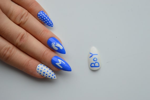 Items similar to Baby shower stiletto nails, it's a boy nails, stick on  nails, press on nails, nail designs, nail art, stiletto nails, pointy nails  on Etsy - Items Similar To Baby Shower Stiletto Nails, It's A Boy Nails