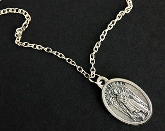 Archangel Uriel Necklace. Catholic Necklace. St Uriel Medal Necklace. Patron Saint Necklace. Christian Jewelry. Religious Necklace.