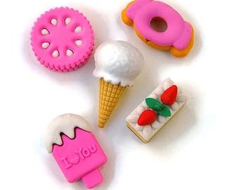 Sweets eraser set of 5, stationary, ice cream eraser, popsicle eraser, school supply, cake eraser, planner supplies, puzzle eraser, pink