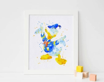 Donald Duck birthday donald duck party Donald Duck Disney print Donald Duck poster Donald Duck print Disney Donald Duck watercolor art duck