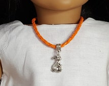 "18"" Girl Doll Easter Bunny Necklace, -American Doll  One Size Orange Leather Braided, Alligator Clasp"