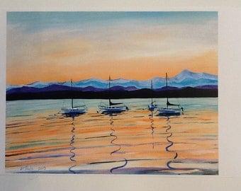 PRINT-Four Sailing Ships On Lake Champlain