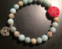 Carved Flower Cinnabar and African Opal Yoga Bracelet with Lucky Fish Charm