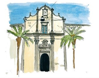 Postcard - Bosa, Sardinia, Italy, greeting card, decorative stationery, card watercolor