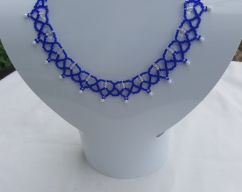 Blue and pearl evening choker