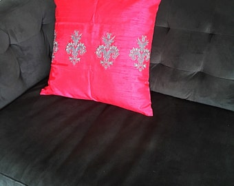 Silk cushion cover | Pink | Teal Blue decorative pillow
