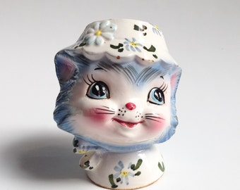 "Vintage Salt Shaker Miss Priss, Vintage 1950, LEFTON ""Miss Priss"", Made in Japan, Blue Cat salt shaker from Japan"