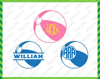 Beach Ball Monogram Split Frames SVG DXF PNG eps Summer Cut Files for Cricut Design, Silhouette studio, Sure Cut A Lot, Makes the Cut