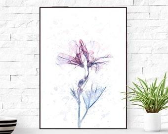 Original flowers print, Flower wall art, flowers poster, large poster, flower printables, gift for her, flower decor art print.
