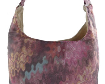 Mostly Pink Swirled, Slouch Bag, Hobo Bag, Purse with Fixed Strap | Sewn By Tanya