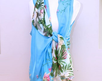 Chiffon beach wrap, beach coverup, bikini cover up, swimsuit wrap, floral shawl, blue chiffon scarf, beach cardigan, summer wrap, beach wear