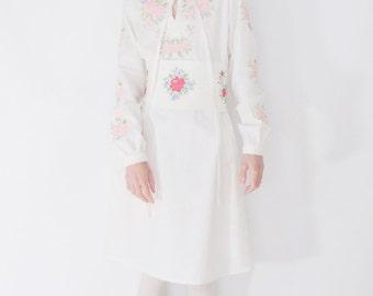 cross stitch embroidered tunic dress, ukranian vyshyvanka dress inspired, white dresses for women, beach coverup dress, bohemian folk dress