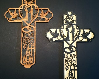 Wedding Theme Wooden Cross Wall Hanging