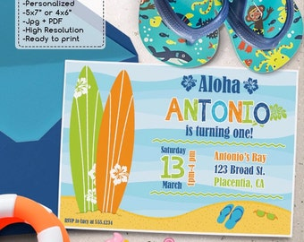 Surf Birthday Party invitations DIY Surf's Up printable invite