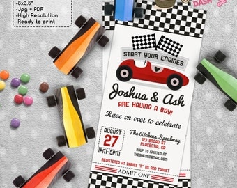Red Racing Car Baby Shower Ticket invitations red race car DIY printable couples baby shower invite