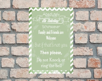 No Soliciting Sign - Instant Download - 4 x 6, 5 x 7, 8 x 10 - 3