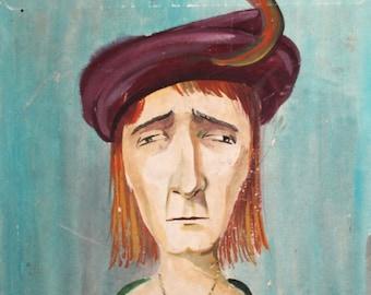 Vintage wc painting man portrait