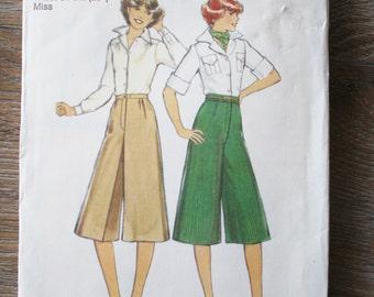 Vintage pattern, 70s Culottes pattern Gauchos pattern, High waist Culottes 1970s dressmaking Size 10 pattern, Style Patterns 2185