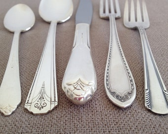 Vintage Wedding Flatware,Five (5) Piece Place Setting,Mismatched,Antique Silver Plate,Silverware,Mixed Patterns,Tea Party,Rediscovered