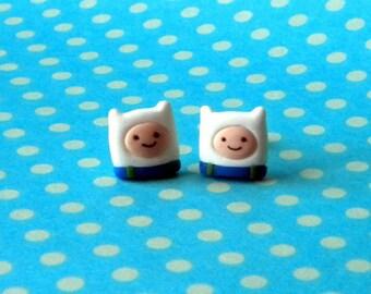 Finn The Human polymer clay earrings.Handmade Adventure Time earrings.OOAK stud earrings.Adventure Time present.No mold.Jake The dog. Stuff.