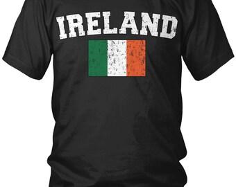 Distressed Ireland Country Flag Men's T-Shirt, Irish Pride, St Paddys Day, Nationality, Men's Ireland Soccer Shirts AMD_IRE_02