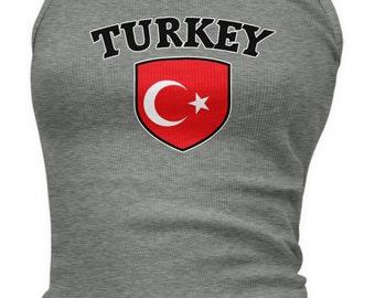 Turkey Country Crest Ladies Juniors Tank Top, Republic of Turkey, Turkish Flag, Pride, Ladies Juniors Turkey Soccer Tank Tops AMD_TUR_03