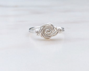 Rose Silver Ring, Wire ring, Sterling Silver rose ring, Rose ring, Flower ring, Wire wrapped ring, Rose shaped ring, Gift