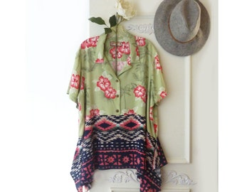Plus size, Upcycled Hawaiian shirt,  Boho tunic top, upcycled clothing, lagenlook, Womens floral top, gypsy tunic top, tribal print, artsy