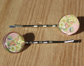 Rose quartz Floral Hair grip - personalised gift, vintage style bobby pins, kirby grip, gift for her, floral grip, butterfly, birthday gift
