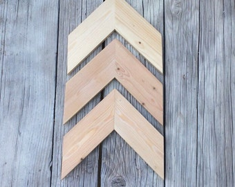 SAME DAY FREE shipping~Chevron Wood Unfinished Arrows Set of 3