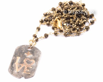 LOVE Necklace   Pyrite Necklace   Dog Tag Pendant Necklace   Love Charm Necklace   Rustic Tag Necklace   Gold Silver Necklace