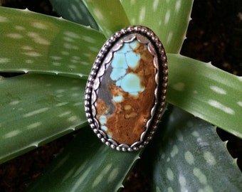 Huge #8 Turquoise Ring