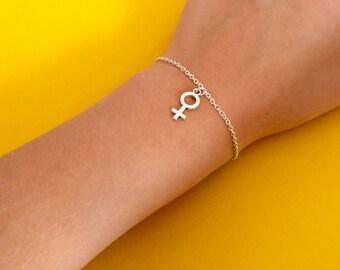 Venus Feminist Woman Female Symbol Charm Silver Bracelet