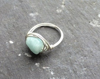 Aquamarine Rough-Cut Wire-Wrapped Ring