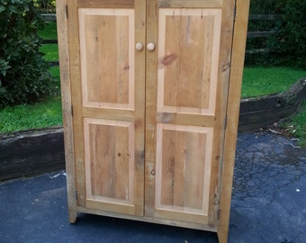 """Antique Reclaimed 19th Century Barn Wood Armoire Storage TV Cabinet Closet -36""""W or 40""""W x18""""Dx60""""H - Custom Sizes Available"""